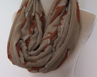 Taupe Fox Print Infinity / Long Women's Scarf Gift Ideas for Her
