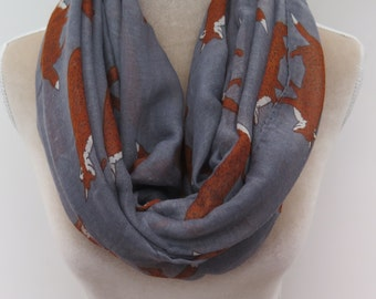 Grey Fox Print Infinity / Long Women's Scarf Gift Ideas for Her