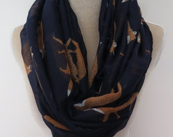 Navy Blue Fox Print Infinity / Long Women's Scarf Gift Ideas for Her
