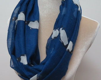 Blue Penguin Print Infinity / Long Scarf Women's Accessories Gift Scarves