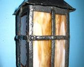 Mission porch light - art glass panels - original craftsman era - wiring OK ready to install
