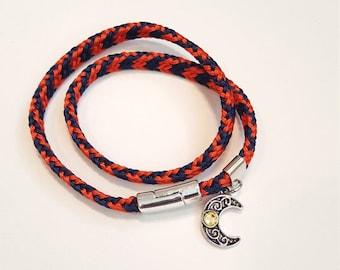 Unisex bracelet with moon charm, handwoven bracelet, Japanese traditional, kumihimo bracelet, friendship bracelet, bracelet with charm