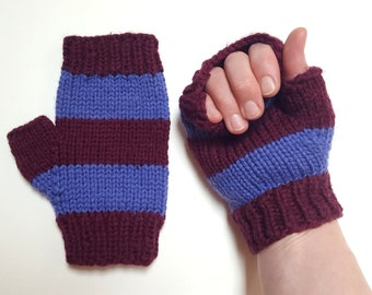 Pure wool thick handknit fingerless mitts, size women one size