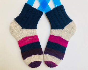 Wool, wool blend handknit socks, cosy socks, US women shoe size 7-8, cute socks, striped socks, leftovers socks