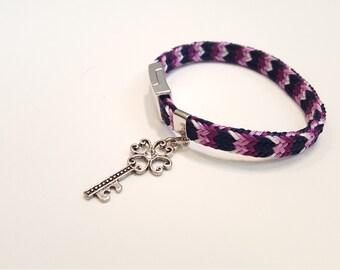 Bracelet with key charm, handwoven bracelet, Japanese traditional, kumihimo bracelet, friendship bracelet, bracelet with charm