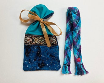 Blue handwoven bookmark with red hand stitched flower in cute handmade bag. Gift for book lover. Old fashioned bookmark. Vintage style.