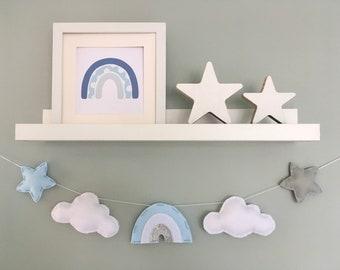 Blue Rainbow, cloud and star garland - kids room decor - nursery wall art - rainbow baby gift - nursery garland - silver and grey nursery