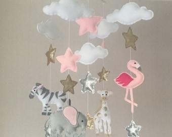Safari Baby mobile - baby girl mobile - Crib mobile - Jungle mobile - Cloud Mobile - Nursery Decor - Clouds, stars and jungle animals