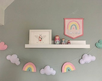 Pastel Rainbow, cloud and heart garland (longer length) - kids room decor - nursery wall art - rainbow baby gift - nursery garland