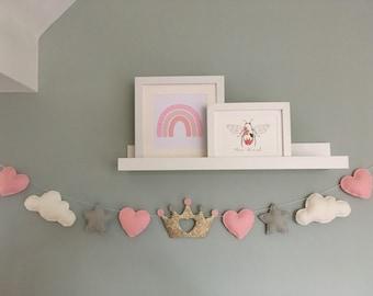 Princess garland - Girls bedroom decor - Nursery decor - clouds, hearts, stars and princess crown.