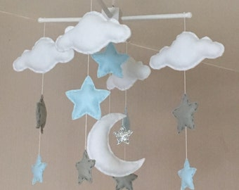 Baby mobile - Baby boy mobile - Cot mobile - Moon, clouds, and stars mobile - Nursery Decor - pale blue, pale grey and silver