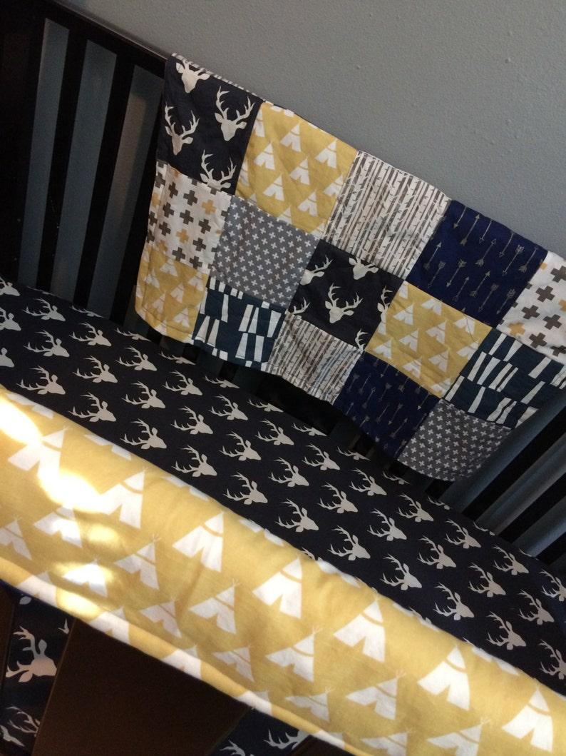 navy mustard yellow Custom made to order baby bedding Woodland set