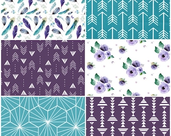 Baby Girl Crib Bedding Set in purple and turquoise with fabrics that include feathers, arrows and feathers, made to order baby bedding set
