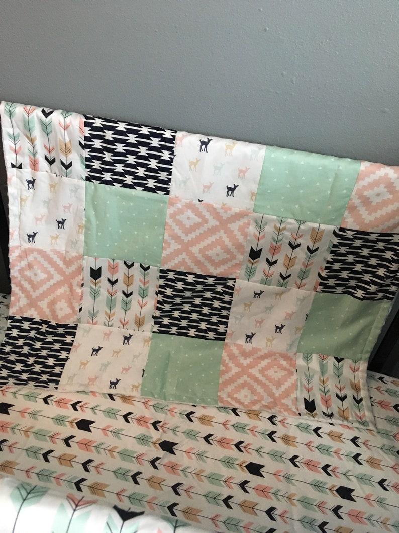 mint and navy with a woodland Aztec theme including arrows and modern fabric swatches deer Custom Made to Order Baby Bedding in pink
