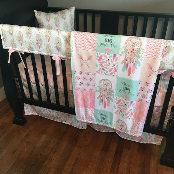 flowers and feathers in a pale pink and mint green with a bohemian feel with fabrics including cactus Custom Baby Bedding Made to order