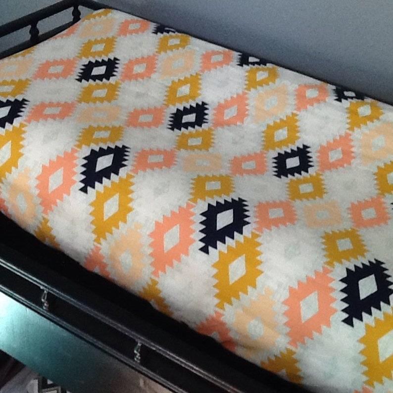 Arizona Aztec baby blanket Made to Order arrows Tribal mint coral sheet navy Custom Crib Bedding Set crib skirt gold