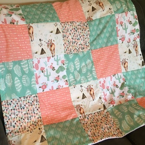 horses Baby girl baby blanket in pink and mint with boho fabrics and including arrows and feathers cactus