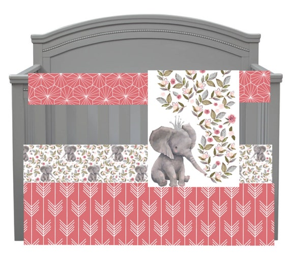 Made to Order Pink and Grey Elephant Crib Set by PishPoshPolkaDot
