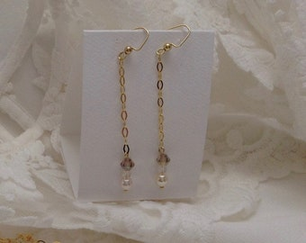 18K Yellow Gold Plated Vermeil Dangle Chain Earrings, Crystal, Bridal Bridesmaid Earrings, Gifts for Her, Swarovski, Bridal Jewelry,