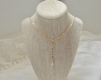 Drop Chain Necklace, 18K Yellow Gold Vermeil, Boho Bridal Necklace, Pearl, Clear Crystal, Drop Dangle Chain Necklace, Minimalistic