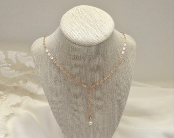 18 Kt. Rose Gold Vermeil Oval Diamond Cable Drop Chain Necklace, Boho Bridal Necklace, Pearl, Champagne Crystal, Clear Crystal, Drop Dangle