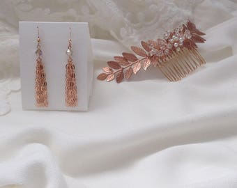 Rose Gold 18 Kt. Tassel Earrings, Champagne Clear Crystals, Pearls, Bridal Earrings, Bridesmaids Gifts, Gifts for Her, Rose Gold Chain