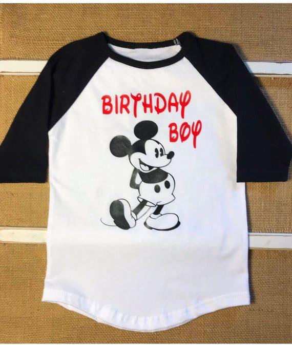 Boys Birthday Shirt Mickey Mouse Vinyl Raglan Sleeve