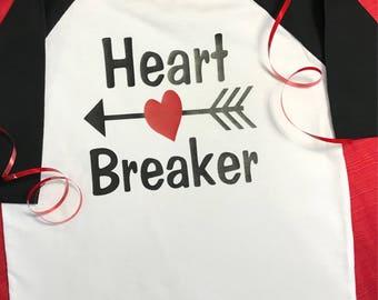 Valentine's Day shirt!! Boys Valentine shirt!! Heart breaker shirt !!