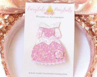 Sleeping Beauty Hair Clip - Sleeping Beauty Pin -  Princess Birthday Outfit - Princess Hair Clip - Fairytale Ponytails