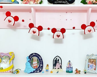 Rainbow Valentine Felt Garland  |  Disney Decor  |  Disney Valentine Decoration  |  Fairytale Ponytails