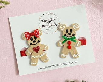 Gingerbread Mickey Hair Clip Set - Disney Christmas - Minnie Hair Bow - Christmas Hair Clip - Fairytale Ponytails