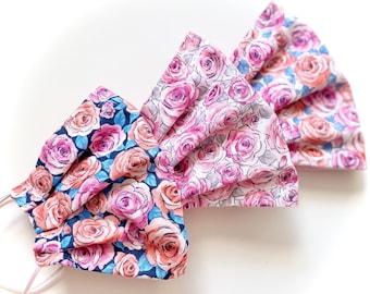 Floral FACE MASK Filter Pocket Nose Wire  |  Roses, Flowers  |   Face Mask for Women  |  Fairytale Ponytails
