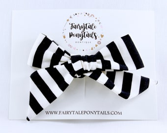 Hair Bows for Girls, Oversize, Black and White Stripe - Made by Fairytale Ponytails