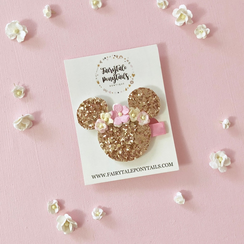 Minnie Mouse Rose Gold Hair Clip  Made by Fairytale Ponytails image 0