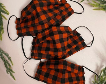 Buffalo Plaid FACE MASK 3 Sizes Filter Pocket Nose Wire Triple Layer  |  Holiday Face Masks  |   Adult & Kid Size  |  Fairytale Ponytails
