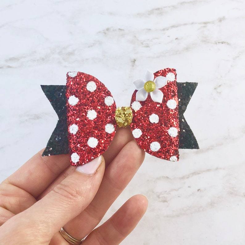 Glitter Minnie Mouse Bow  Minnie Mouse Hair Clips image 0