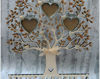 Freestanding Wooden Family Photo Tree Personalised
