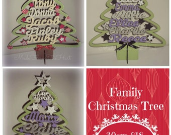 Personalised Family Names Christmas Tree