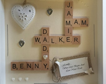 Family personalised scrabble frame