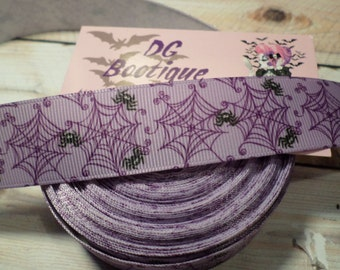 Grosgrain ribbon, Spiderweb Ribbon, halloween, spiders, halloween ribbon