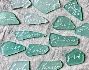Place cards, beach wedding decor, beach wedding table decor, sea glass place cards, coastal wedding decor