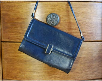 Navy Blue Leather Clutch Bag, Evening Bag, Jane Shilton, Dark Blue