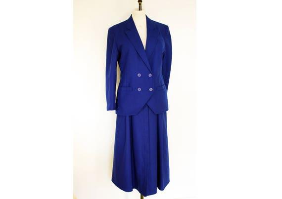 Blue 80s Power Skirt Suit, Size 12