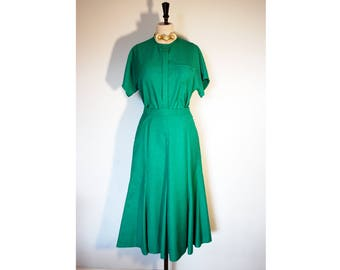 Vintage 80s Green Matching Set / Co Ord, Midi Skirt and Blouse, Size 10