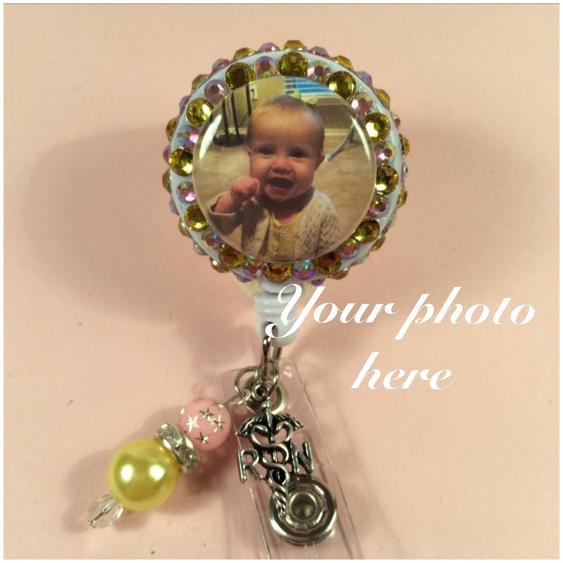Personalized badge reel with beads and charm