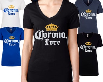9bcefe6f9 Corona t-shirt, Short Sleeve V Neck womens tshirt, Summer Day With A Corona  Beer, Glitter Design Drinkng Tee Beer Shirt, Cinco De Mayo Party