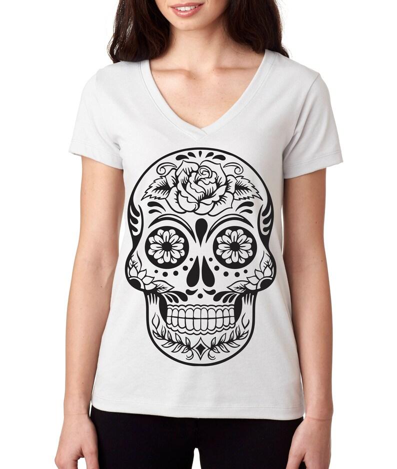 Flower Skull Women/'s Long Sleeve Tee Sugar Skull Calavera Dia de los Muertos