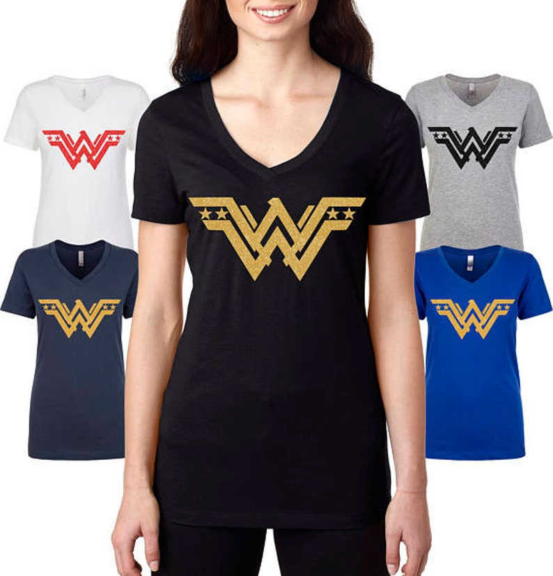 d179d13c14d4 Wonderwoman t shirt superhero Tshirt Sparkle gold decal image ...