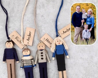 Custom Family Christmas Ornaments | Personalized Family Gift Set | Custom Family Worry Doll Set | Couple's Gift