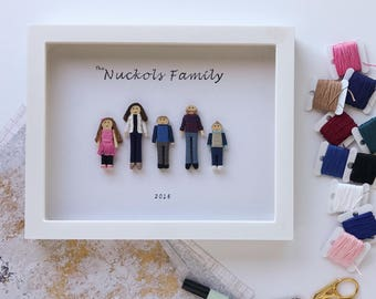5-8 Family Members Custom Family Portrait | Personalized Worry Doll Gift Set | Custom Anniversary Photo | Framed Family Photo